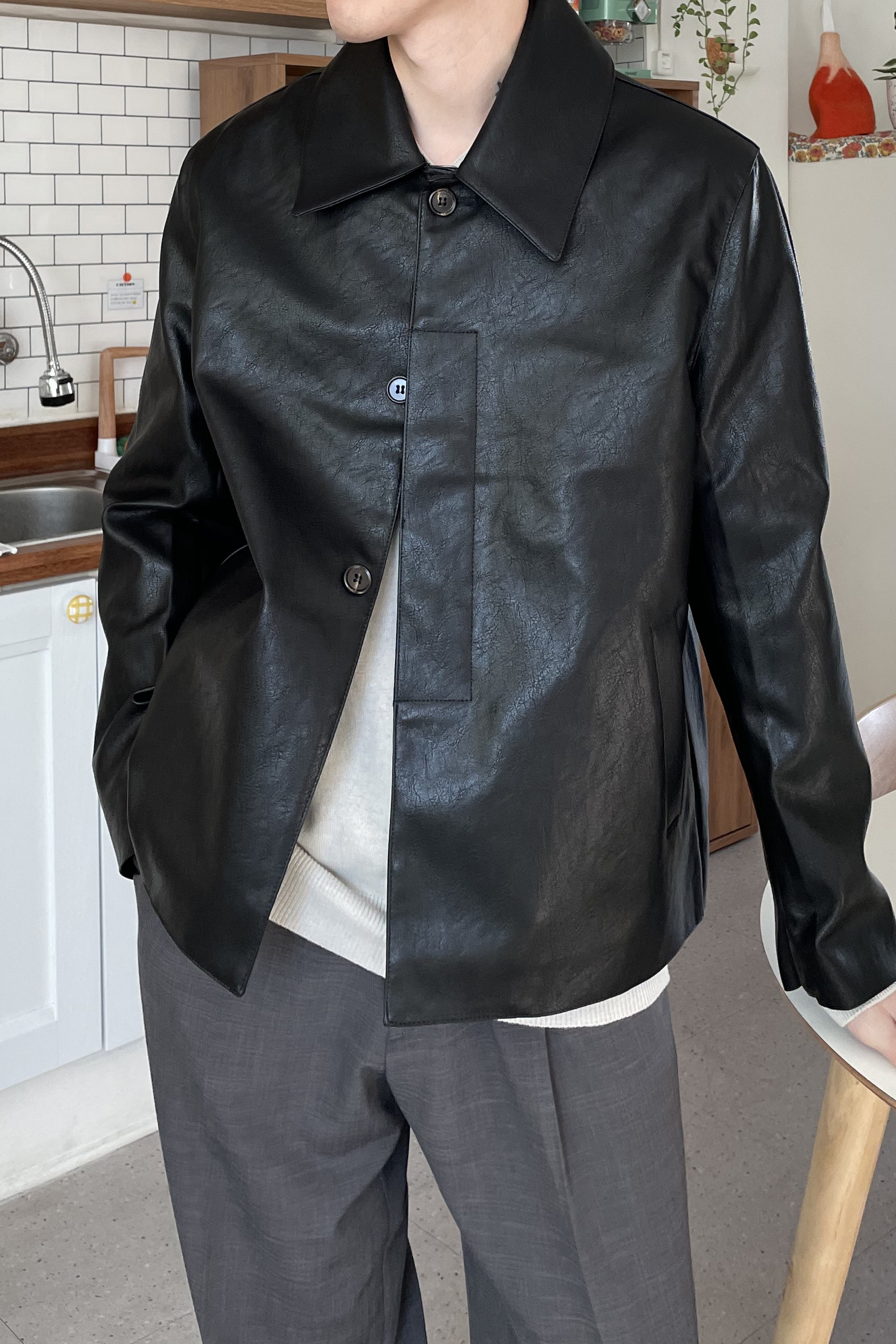 MARS PEOPLE/ Minimal Crop Leather Jacket